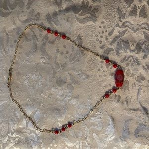 Red Glass and gold choker, dainty